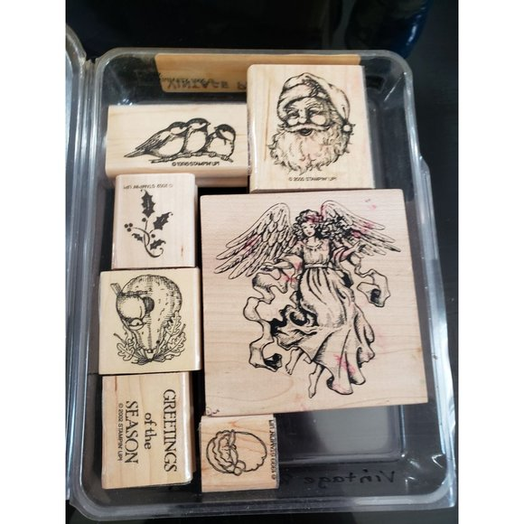 Stampin' Up Greetings Of The Season 2002 Wooden Mounted Stamps